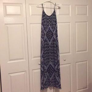 Beautiful blue geometric pattern maxi dress
